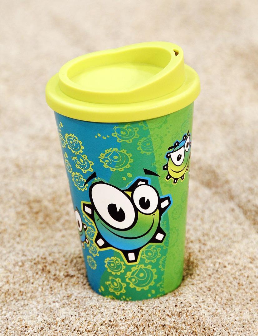 Pahar plastic Neata cu rotite vesele si capac verde lime