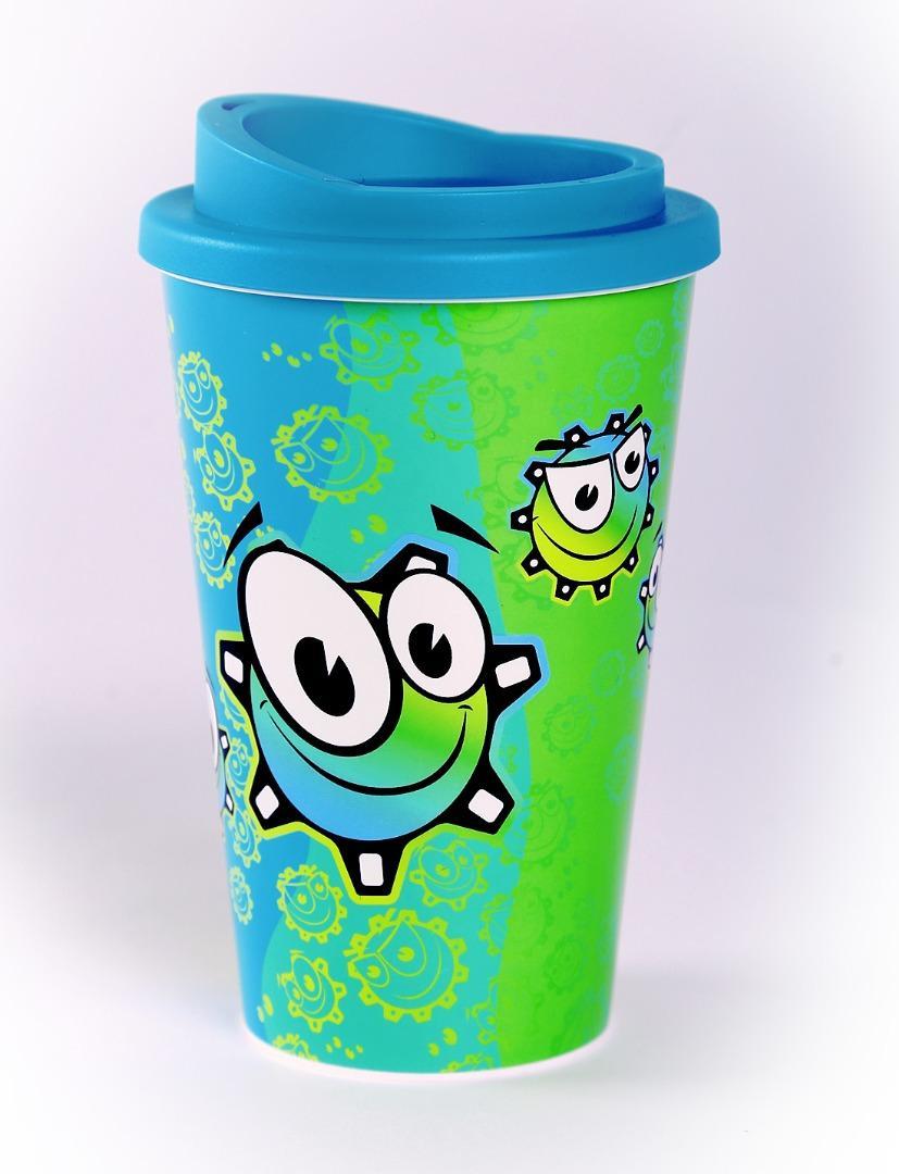 Pahar plastic Neata cu rotite vesele si capac bleu aqua